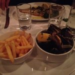 Mussels & frites and lemon sole in distance