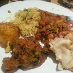 Naan, mushroom rice (my favourite!), lamb and spinach, bombay potato and chef special. Exception
