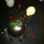 Dessert - Chocolate sponge cake with a melted chocolate centre and ice cream and single cream