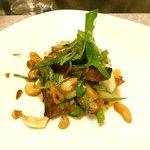Honey roasted pork breast and tiger eggplant salad