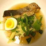Sanday fish soup, green mango, water lily stem and dry fish broth