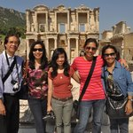 At the Library of Celsus. Photo taken for us by Banu Akin.