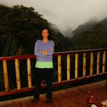 Tamara outside our room at Tandanyapa at twilight.