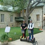 outside the gunther house on Segways