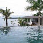 Infinity pool and pool restaurant