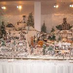 Christmas miniature village & train set in lobby