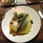 Lightly curried fillets of sea bass - highly reccommended