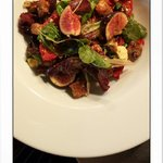 Fig. Blue cheese.  Hazlenut. Sun blushed tomato & seeded croutons.