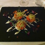An anti-pasto of chilled raw samon with celery and onions