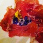 Colatella di Zibello -- the finest of Parma Hams with violets as an antipasto