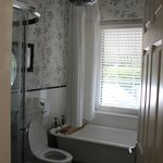 Our bathroom, with rain shower head and claw foot tub!