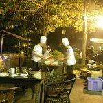 outside,  hotel yard, street food