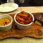 Beef steak with hand cut fries and pepper sauce - delicious!