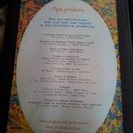 carte des menue  du restaurent le Mille et une Feuille sur la  Charité  sur Loir