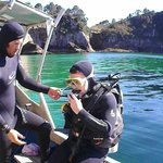 Josh with a Discover Scuba Diver first timer