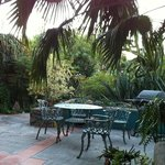 One of the patio seating areas
