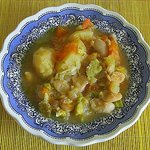 Kawlata a traditional vegetable soup with pork belly .