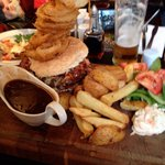 The Ultimate burger.. Steak Burger, Chicken, Pulled Pork, Onion rings and Chips.. Best burger I