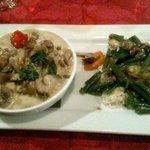 Plat : duo de rognons et riz de veau aux pleurolles et porto