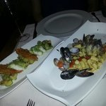 Thw mussel and clam gnocci and the turbet with potatoes