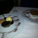Chocolate volcano cake and Tiramasu