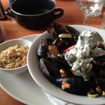 Seafood Coconut Curry with Mussels, Squid, Salmon, Pilaf Rice and Cucumber Raita