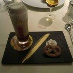 """Souvenirs d'Alsace : le Picon bière """" Marmelade d'orange amère, glace au picon, mousse de bière"""""""
