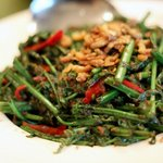 Fiery hot stir-fried kangkung.