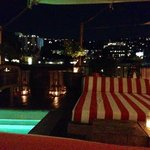 Rooftop bar/pool at night. Lovely views over LA