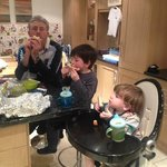 My family wolfing down my loaf, produced at Harthill Cookery School