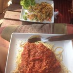 Tuna spaghetti and pad Thai from the restaurant