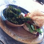 BBQ Tempeh burger with zesty kale chips.