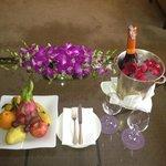 orchids, wine, fruit
