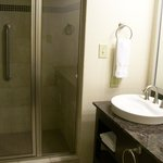 Bathroom Shower Stall and Sink in Room