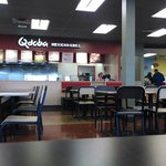 Inside a food court in a truck stop. Not quite lunch time yet.