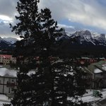panoramic view of the mountains (Three Sisters on the left) from our balcony