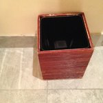 Waste basket in bathroom
