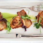 Kitchen Garden Belly Pork, Scallop with Mint & Pea Puree