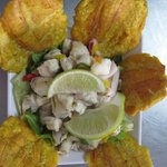 Grouper Ceviche with tostones