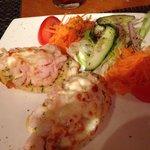 Garlic bread with prawns and mozzarella