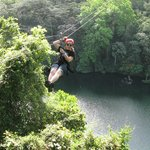 Zipping across Lake Gatun!