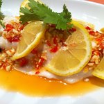 #59 Steamed Seabass topped with fresh chilli garlic coriander flavoured with fish sauce and lime