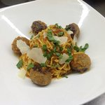 Our very own home-made spaghetti alla chitarra with prosciutto-sage veal meatballs