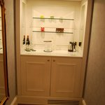 Mini fridge inside the cabinet