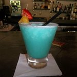 Ask for a Ka-Blu-Ie Light Rum, Cream of Coconut, Pinapple Juice, and a splash of Blue Curacao