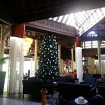 beautiful lobby with the christmas tree!