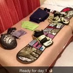 Bedroom with twin beds and of course my snowboard gear