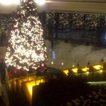 christmas tree overlooking the first floor of the lobby