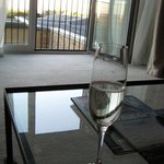 Glass of fizzy upon arrival in our lovely suite...