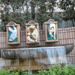 Fountains outside